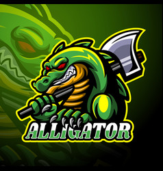 Alligator esport logo mascot design vector