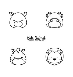 animals drawing face vector image