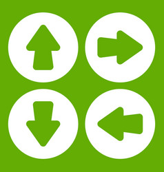 arrow set icon green vector image