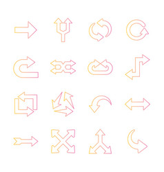 Arrows gradient style collection icons vector