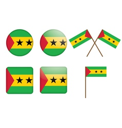 badges with flag of Sao Tome and Principe vector image