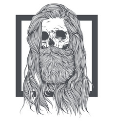 bearded skull witch long hair vector image