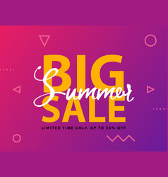 big summer sale sign with ultraviolet background vector image