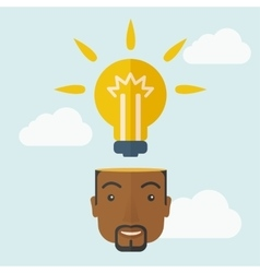 Black businessman with bulb on his head vector image