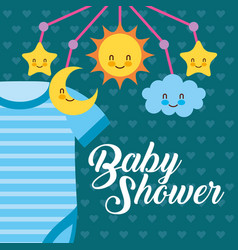 Blue bodysuit and crib mobile baby shower card vector