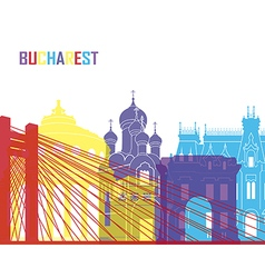 Bucharest skyline pop vector