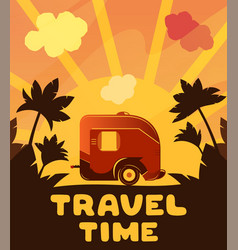 camping trailer on orange sunset background with vector image