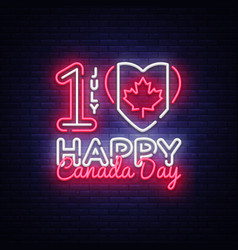 canada day neon design template happy vector image