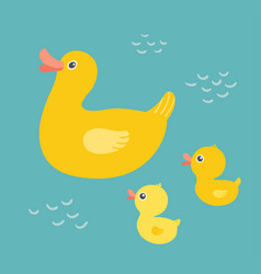 cartoon mother duck swimming in the pond with vector image