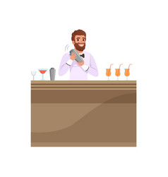 cheerful bartender mixing a cocktail drink in vector image