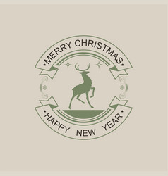 Christmas round sign of green and black hue with vector