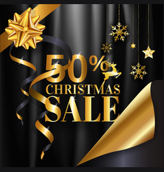 christmas sale banner design in gold and black vector image