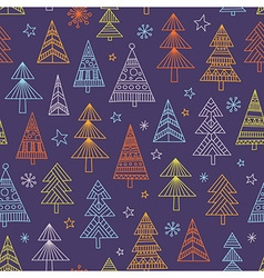 Christnas trees seamless pattern vector image