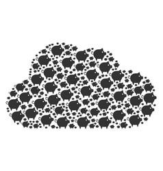 Cloud figure piggy icons vector
