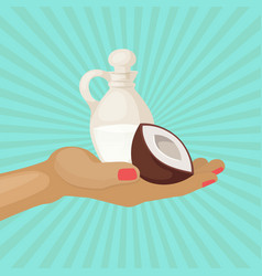 coconut half and jug coconut oil on hand diet vector image