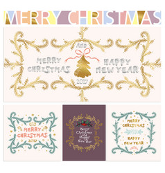 collection christmas and new years elements vector image