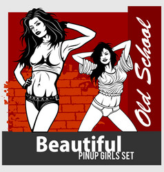 collection of pin up girls in monochrome vector image