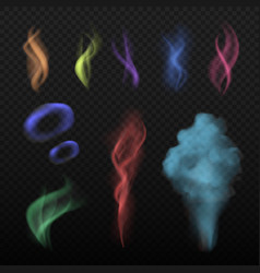 Colored smoke steam and smell spread buring haze vector