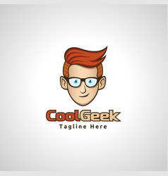 cool geek logo vector image