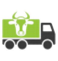 Cow transportation halftone icon vector
