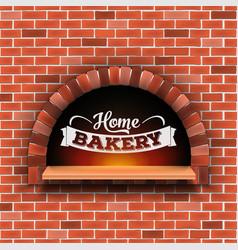 Creative of stone brick pizza vector