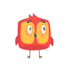 Cute little red funny chick bird square shape vector
