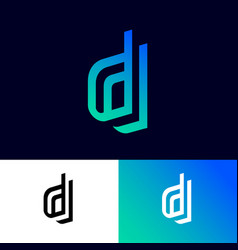 d letters on different double monogram vector image