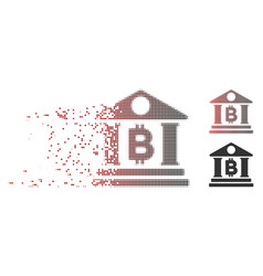 damaged pixel halftone bitcoin bank building icon vector image