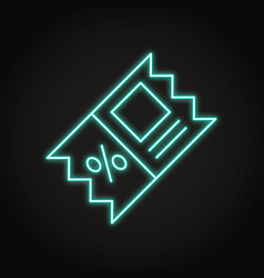 Discount coupon icon in neon line style vector