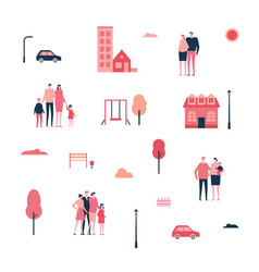 Family in the city - flat design style set of vector