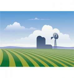 farm with windmill vector image