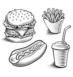 Fast food-hamburger fries hotdog drink vector