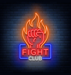 Fight club logo neon sign isolated vector