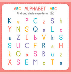 Find and circle every letter s worksheet vector
