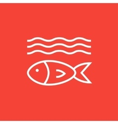 Fish under water line icon vector