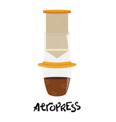 Flat aeropress alternative methods brewing vector