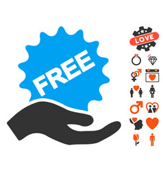 Free present icon with lovely bonus vector