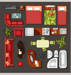 Furniture top view house interior elements and vector