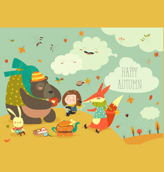 Girl with animals at picnic vector