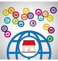 global communication shopping digital technology vector image