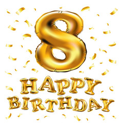 Gold balloon font number 8 made of realistic vector
