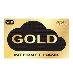 gold plastic card with a picture of Internet bank vector image