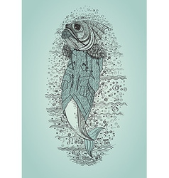 Hand drawn fish in coat vector image