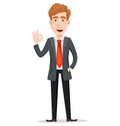 Handsome businessman in suit showing ok sign vector