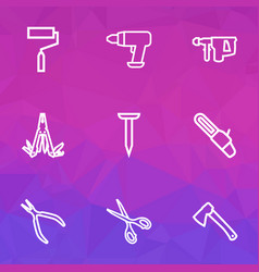 handtools icons line style set with multi tool vector image