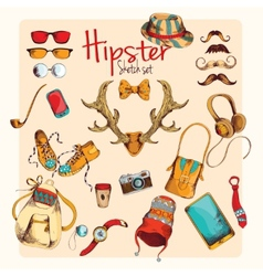 Hipster sketch set vector image