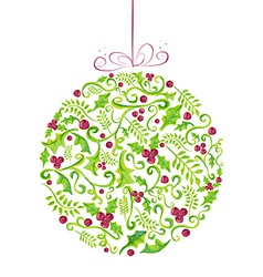 Holly Christmas watercolor bauble greeting card vector