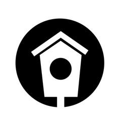 House wooden bird icon vector