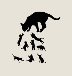Hungry Cat Silhouettes vector image