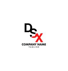 initial letter dsx logo template design vector image